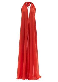 Adriana Degreas Halterneck georgette maxi dress