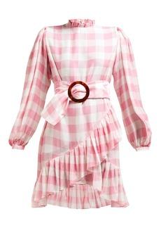 Adriana Degreas High neck gingham-print mini dress