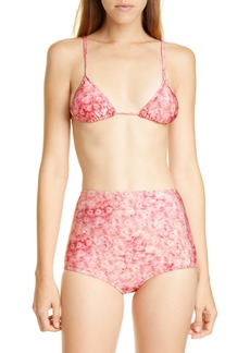 Adriana Degreas Hydrangea Print High Waist Bikini