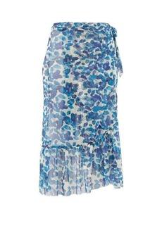 Adriana Degreas Lotus leaf-print georgette wrap skirt