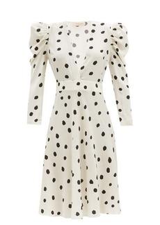 Adriana Degreas Plunge-neck polka-dot poplin midi-dress