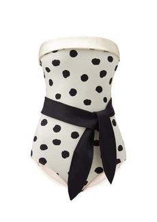 Adriana Degreas Pois strapless polka-dot swimsuit