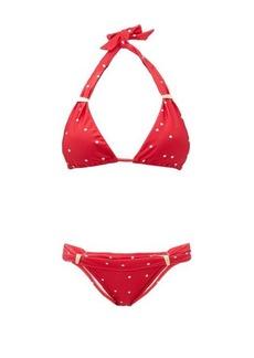 Adriana Degreas Polka-dot halter-neck triangle bikini