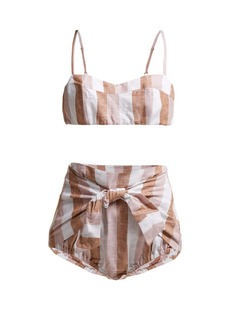 Adriana Degreas Porto striped linen-blend bikini set