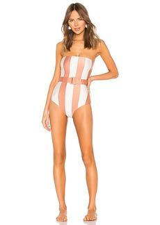 ADRIANA DEGREAS Porto Striped Strapless Swimsuit
