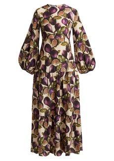 Adriana Degreas Silk crepe de chine fig-print dress