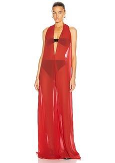 ADRIANA DEGREAS Solid Halterneck Long Dress