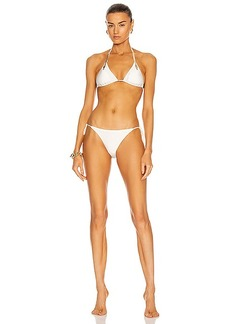 ADRIANA DEGREAS Solid Serpent Detail Triangle Bikini With Side Ties