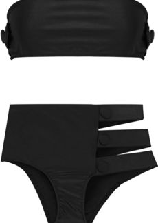 Adriana Degreas Woman Cavalgade Button-embellished Cutout Bandeau Bikini Black