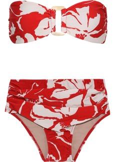 Adriana Degreas Woman Embellished Printed Bandeau Bikini Red