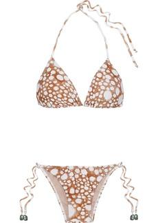 Adriana Degreas Woman Embellished Printed Low-rise Triangle Bikini Light Brown