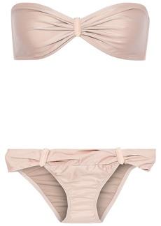 Adriana Degreas Woman Embellished Ruched Low-rise Bandeau Bikini Peach