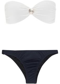 Adriana Degreas Woman Knotted Two-tone Bandeau Bikini Navy
