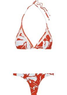 Adriana Degreas Woman Mesh-trimmed Printed Triangle Bikini Orange