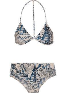 Adriana Degreas Woman Mesh-trimmed Printed Triangle Bikini Sand