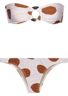 Adriana Degreas Woman Ring-embellished Polka-dot Bandeau Bikini Off-white