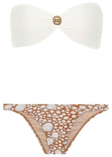 Adriana Degreas Woman Twist-front Embellished Printed Low-rise Bandeau Bikini Light Brown