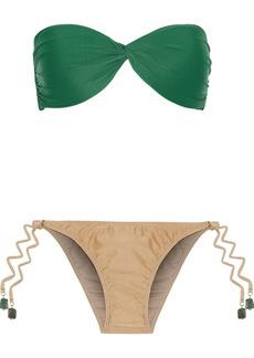 Adriana Degreas Woman Twist-front Two-tone Bandeau Bikini Green