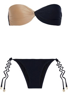 Adriana Degreas Woman Twist-front Two-tone Bandeau Bikini Navy