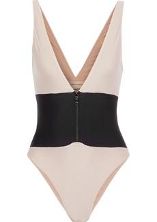 Adriana Degreas Woman Zip-detailed Two-tone Swimsuit Blush