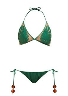 Adriana Degreas x Cult Gaia Leaf-appliquéd tulle bikini