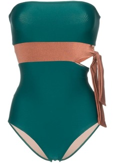 Adriana Degreas Cinque Terre contrasted tie waist swimsuit