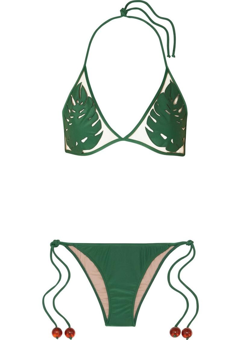 Adriana Degreas Cult Gaia Embellished Tulle-paneled Triangle Bikini