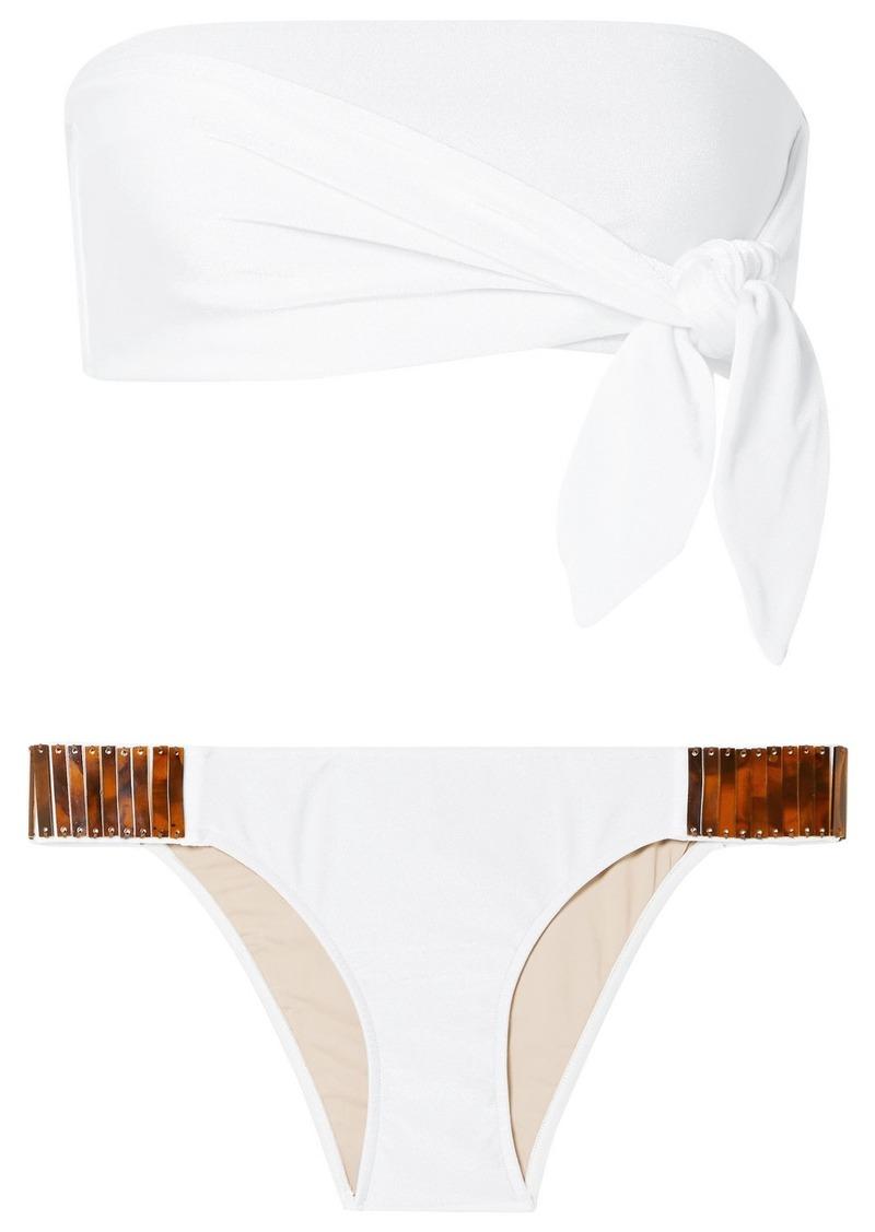 Adriana Degreas Embellished Knotted Bandeau Bikini