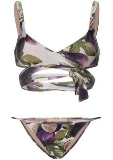 Adriana Degreas fig print wrap tie bikini set