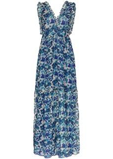 Adriana Degreas ruffle-trimmed floral-print silk-chiffon maxi dress