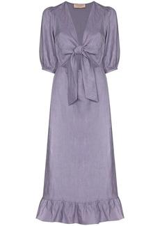 Adriana Degreas tie-front linen midi-dress