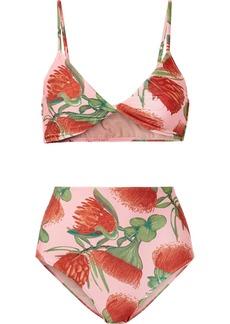 Adriana Degreas Twist-front Floral-print Bikini