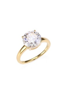 Adriana Orsini 18K Goldplated Sterling Silver Round Crystal Solitaire Ring
