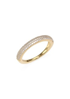 Adriana Orsini 18K Gold Sterling Silver Thin Pavé Band