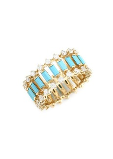 Adriana Orsini 18K Goldplated, Blue Nano & Cubic Zirconia Omega Ring