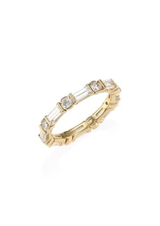 Adriana Orsini 18K Goldplated Silver & Baguette-Cut Cubic Zirconia Band Ring