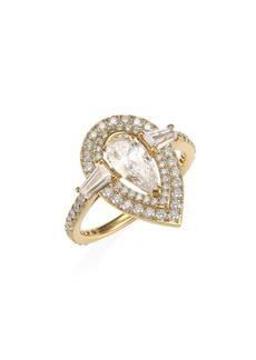 Adriana Orsini 18K Goldplated Silver & Pear-Cut Cubic Zirconia Halo Ring