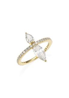 Adriana Orsini 18K Goldplated Silver & Pear-Cut Cubic Zirconia Pavé Ring