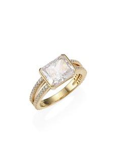 Adriana Orsini 18K Goldplated Silver & Radiant-Cut Cubic Zirconia Pavé Ring