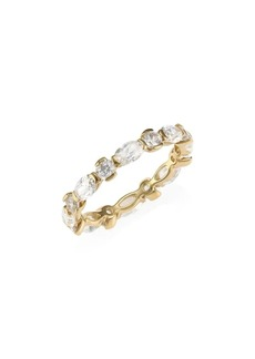 Adriana Orsini 18K Goldplated Silver, Round & Oval-Cut Cubic Zirconia Band Ring