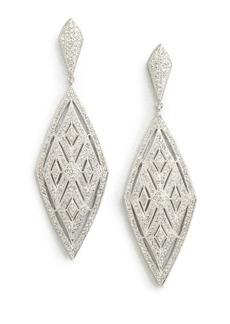 Crystal Encrusted Diamond Drop Earrings