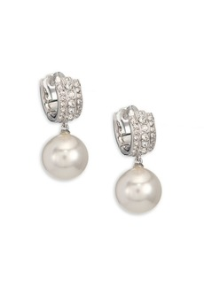 Adriana Orsini Faux Pearl & Crystal Huggie Earrings