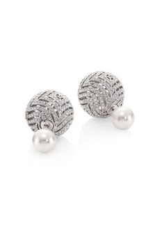 Faux Pearl & Crystal Stud Earrings