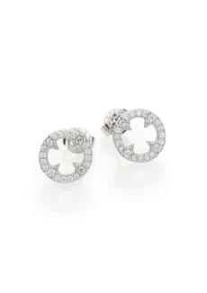 Adriana Orsini Heart & Soul Pavé Sterling Silver Clover Disc Stud Earrings