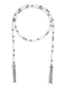 "Multi Faux-Pearl Wrap Necklace/38"""