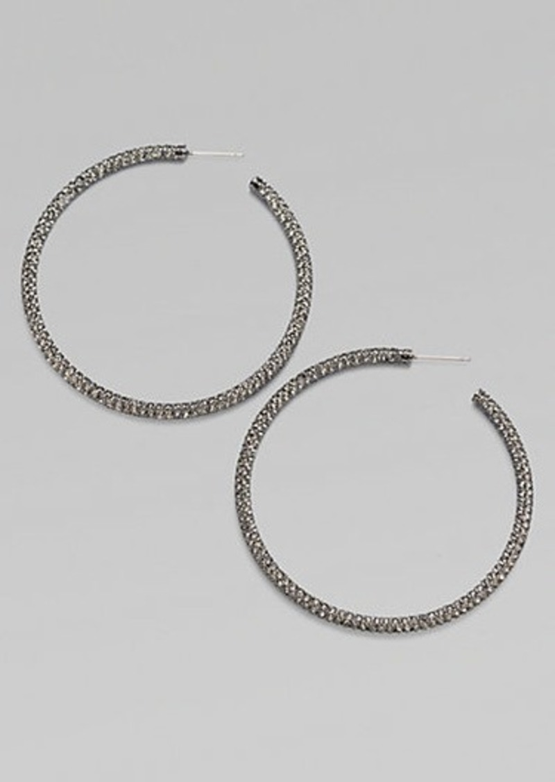 Adriana Orsini Pavé Antiqued Hoop Earrings/2""