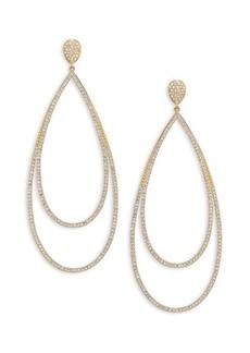 Pavé Crystal Double-Tier Drop Earrings/Goldtone