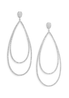 Adriana Orsini Pavé Crystal Double-Tier Drop Earrings/Silvertone