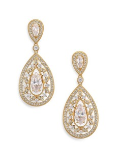Adriana Orsini Pavé Crystal Small Pear Drop Earrings/Goldtone
