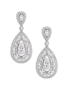 Adriana Orsini Pavé Crystal Small Pear Drop Earrings/Silvertone